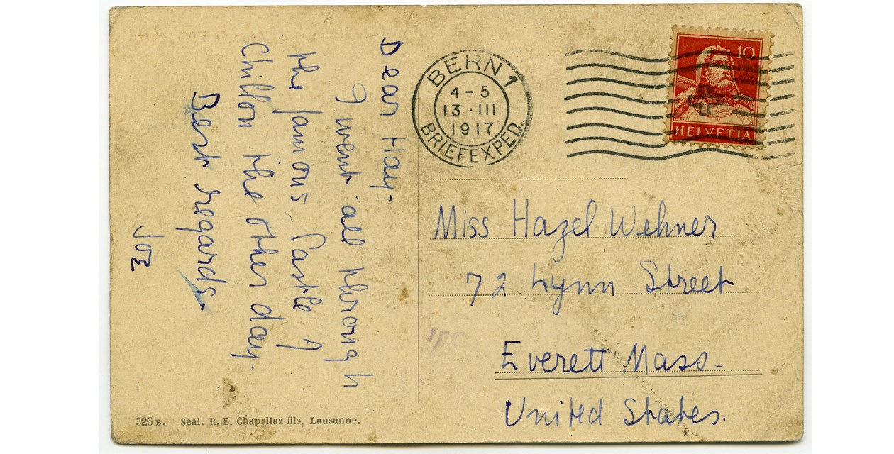 Wehner-1 - A postcard from American fighter pilot Joseph Wehner to his sister Hazel, 1917.