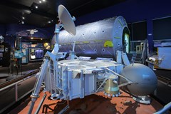 The International Space Station Destiny Laboratory Mock-up on display in the Lear Gallery (Photo by Heath Moffatt)
