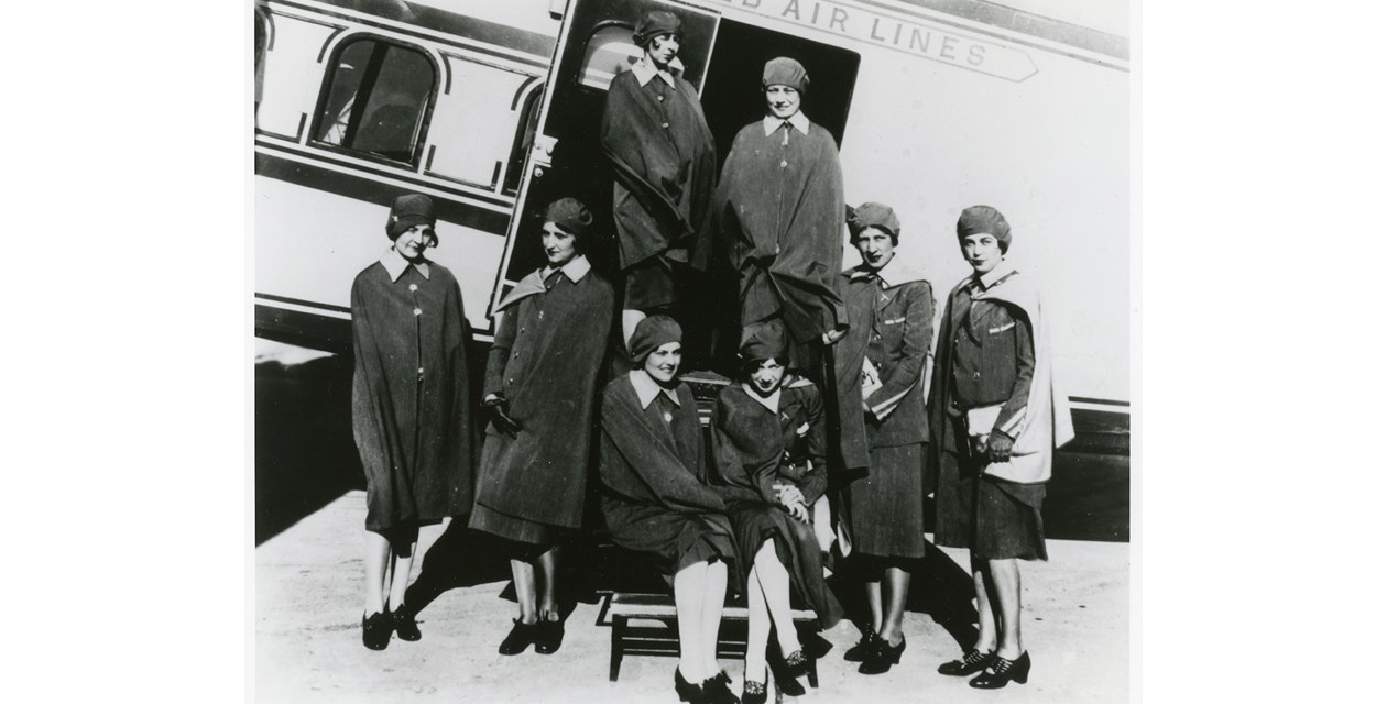 stewardesses - The first group of United Air Lines stewardesses posing in their uniforms, ca. 1930s.