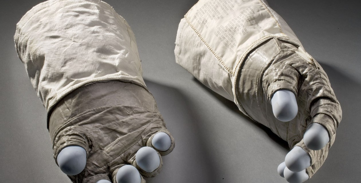 The extravehicular (EV) gloves made for and worn by astronaut Buzz Aldrin, lunar module pilot of the Apollo 11 mission in July, 1969. - Photo by Eric Long, National Air and Space Museum, Smithsonian Institution