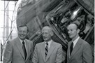 Apollo 11 astronauts Neil Armstrong, Buzz Aldrin and Michael Collins pose in front of the Columbia at the National Air and Space Museum in 1979 - National Air and Space Museum, Smithsonian Institution