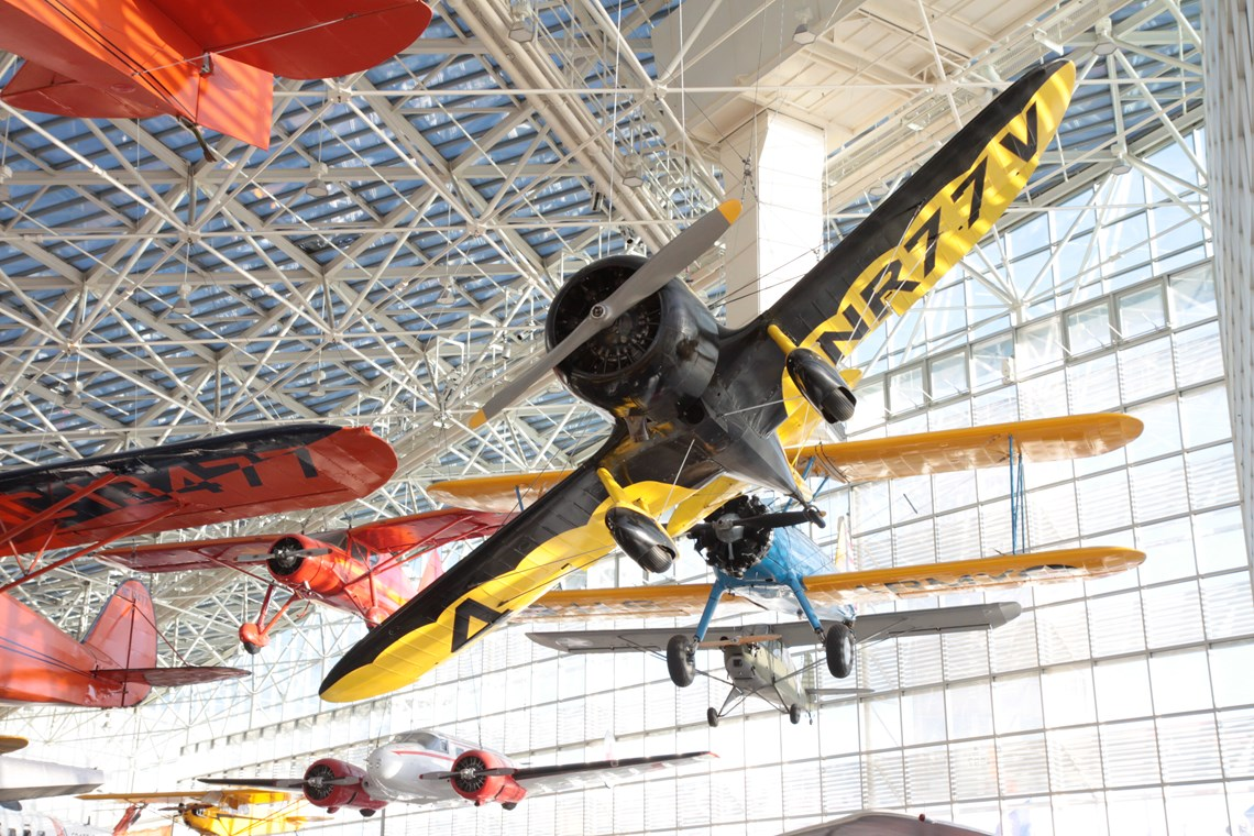 The Museum's Gee Bee Z hanging in the Great Gallery - Gee Bee Hanging