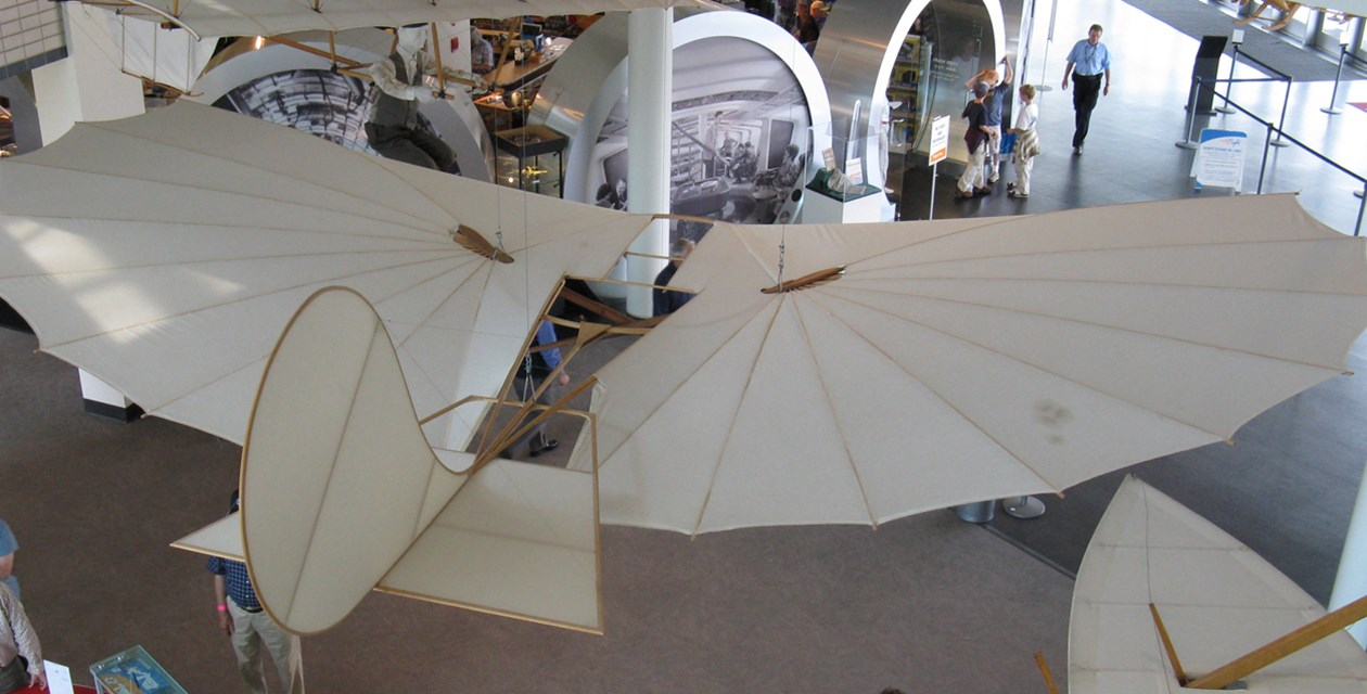 The Museum's Lilienthal (Otto) 1893 Glider Reproduction on display in the Lobby