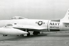 The Museum's TV-1 (P-80C-1-LO) in service, taken at Sand Point Naval Air Station in May 1961
