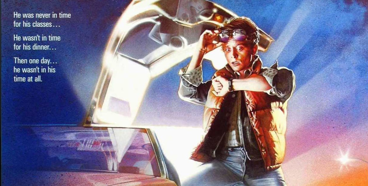 Back to the Future - Marty McFly stands in front of his DeLorean