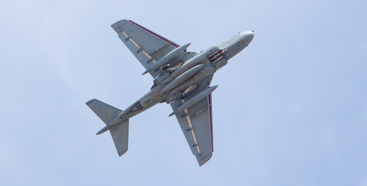 EA-6B Prowler flies over the Museum of Flight