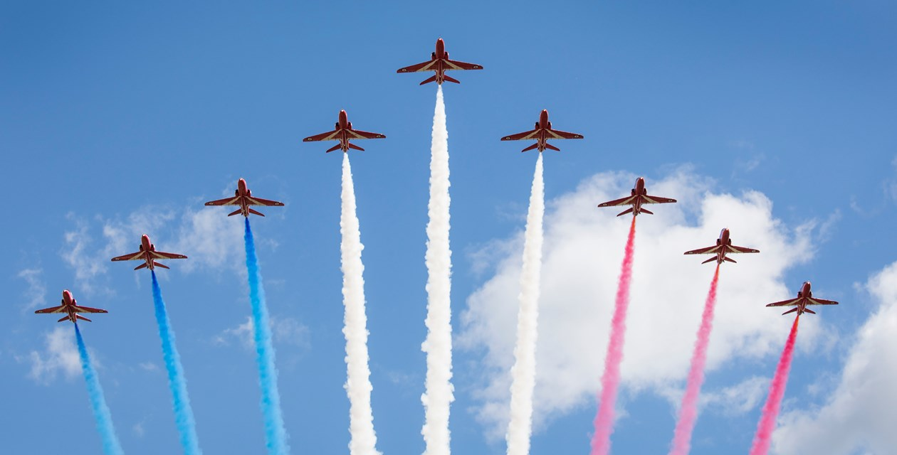 Red Arrows with Smoke