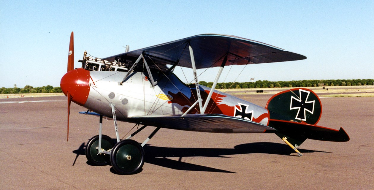 The Museum's Albatros D.Va at Champlin Fighter Museum in Mesa, Arizona, prior to transfer to The Museum of Flight