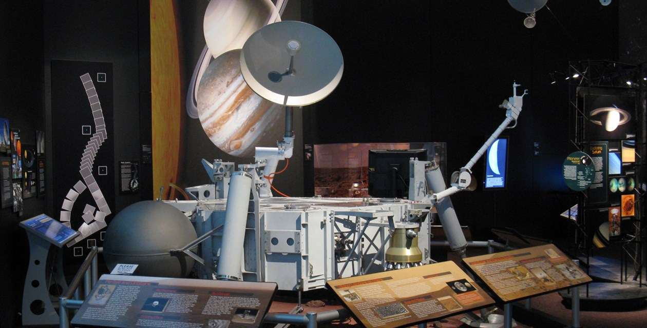 The Museum's Viking Lander Flight Capsule #3 on display