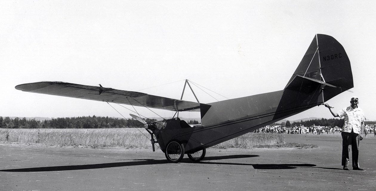 The Museum's Aeronca C-2 at Hillsboro in 1959 with original owner Robert Cansdale