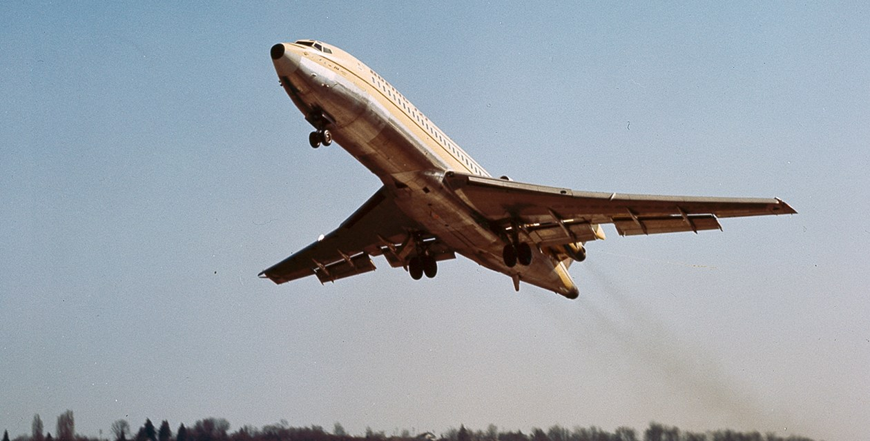 The Museum's Boeing 727-022 taking off for its First Flight on February 9, 1963