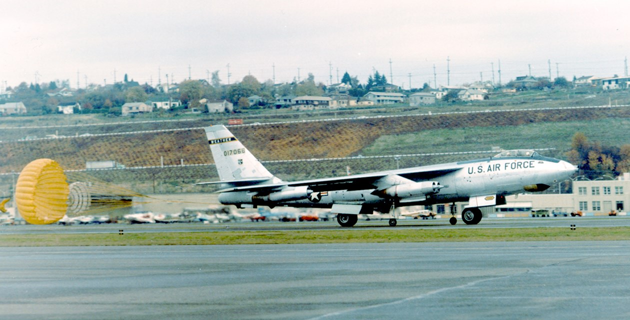 The Museum's Boeing WB-47E Stratojet landing at Boeing Field