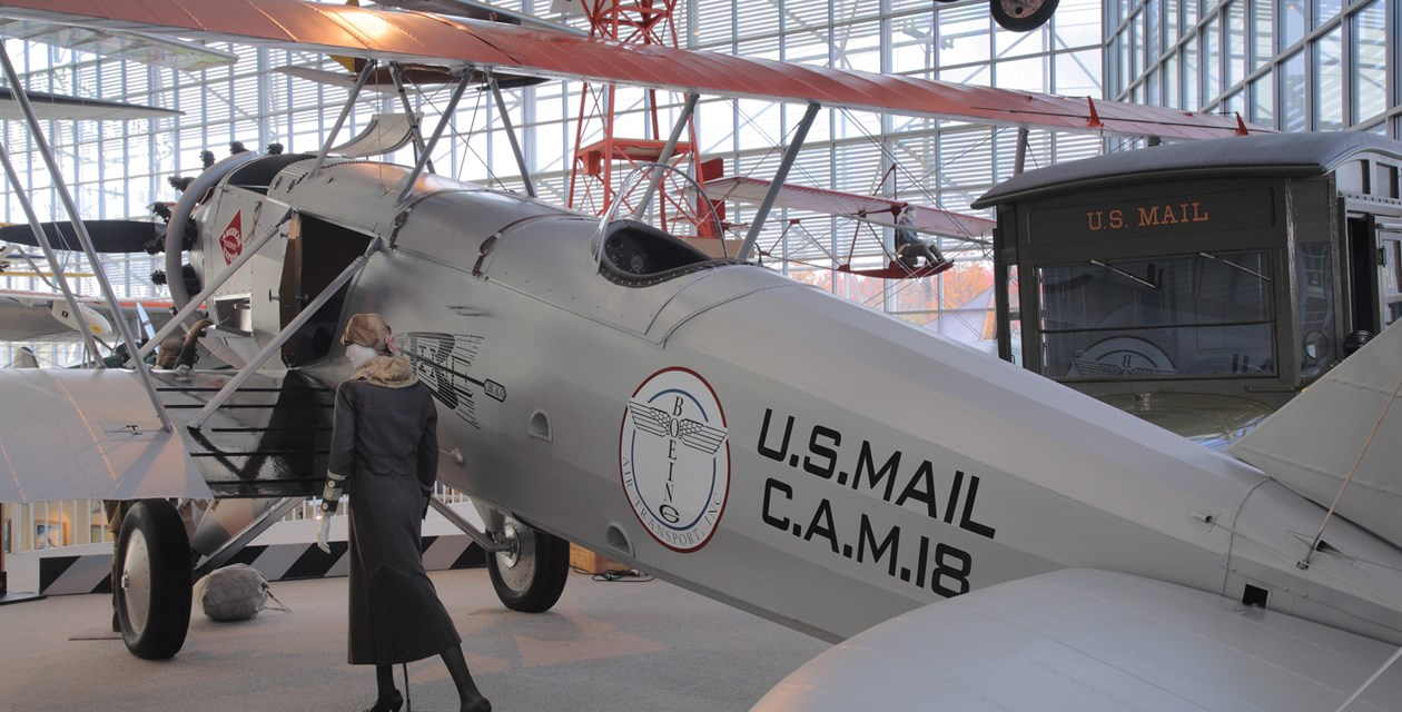 The Museum's Boeing Model 40B Reproduction on display in the Great Gallery