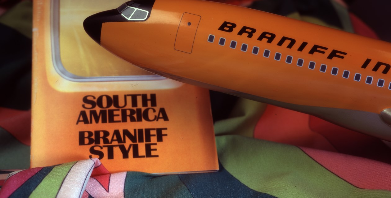Collection-materials-2 - Braniff Boeing 727 items, including a model, South American travel brochure, and the Pucci