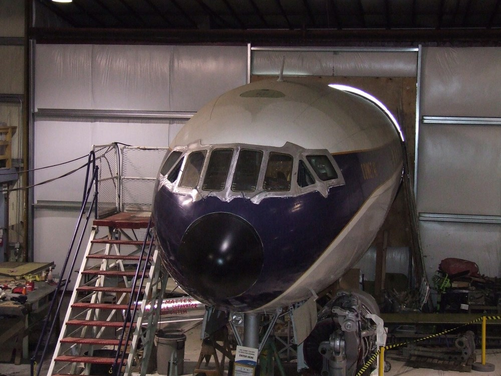 The nose of the Museum's deHavilland D.H. 106 Comet Mk. 4C in the Restoration Center
