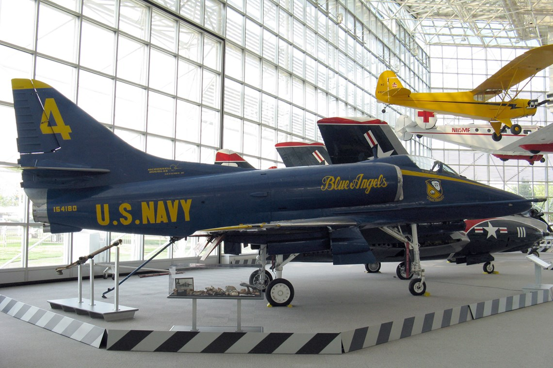 The Museum's Douglas A-4F Skyhawk II on display in the Great Gallery