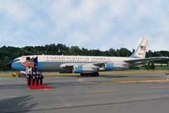 "The Musem's Boeing VC-137B (707-120/SAM 970) ""Air Force One"" being delivered to the Museum"