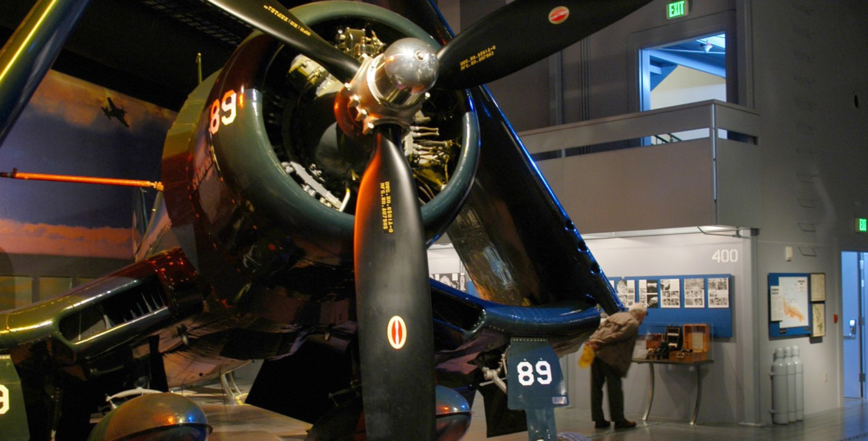 The Museum's Goodyear FG-1D Corsair on display in the Personal Courage Wing