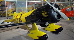 "The Museum's Granville Brothers Gee Bee Z ""City of Springfield"" on display in the Great Gallery (Photo by Heath Moffatt)"