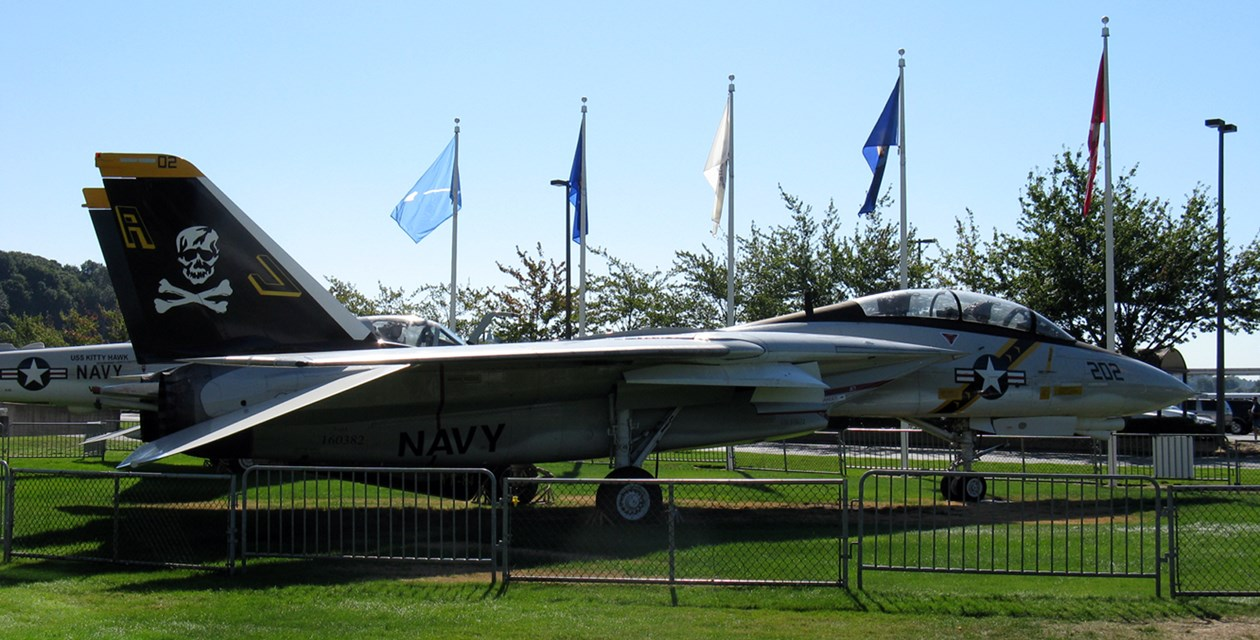 The Musem's Grumman F-14A Tomcat on display on the South Lawn