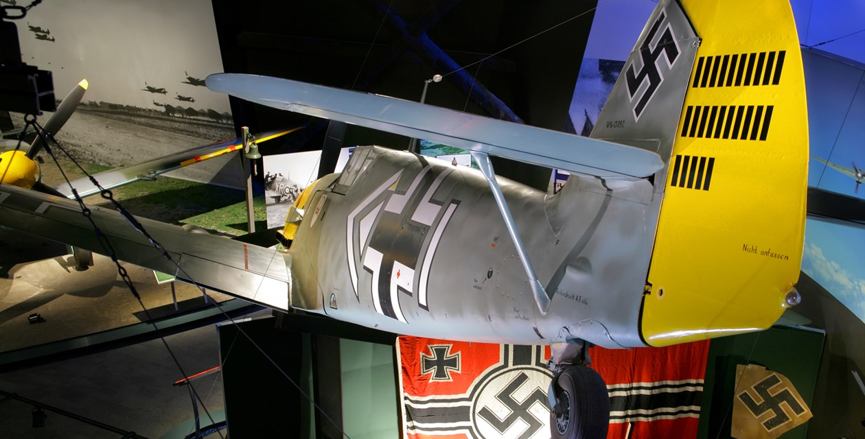 The Museum's Messerschmitt BF 109E-3 on display in the Personal Courage Wing (Photo by Heath Moffatt)