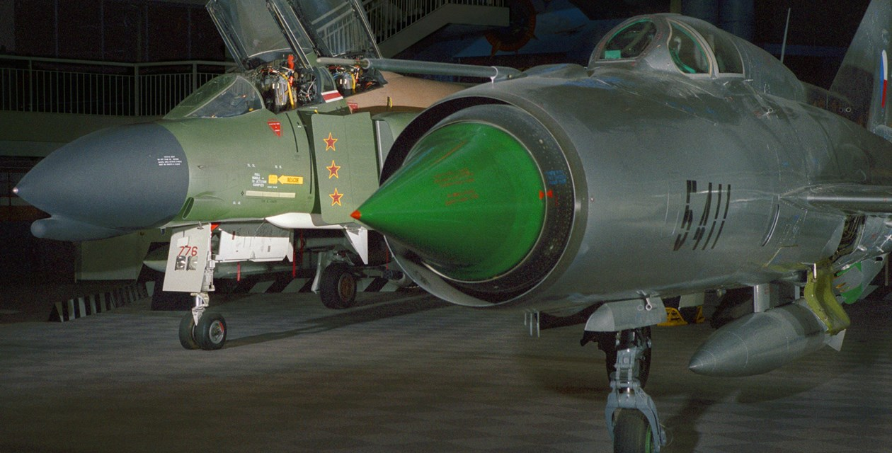 The Museum's MiG-21 PFM Fishbed-F on display in the Great Gallery (Photo by Heath Moffat)
