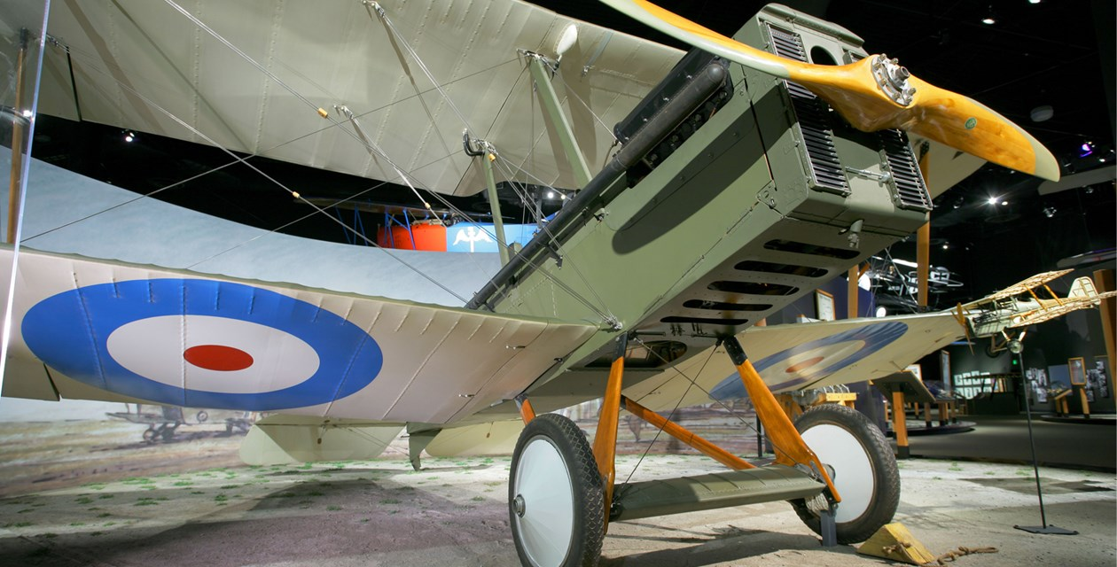 The Museum's Royal Aircraft Factory  S.E.5a Reproduction on display in the Personal Courage Wing (Photo by Heath Moffatt)