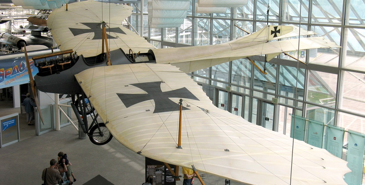 The Museum's Rumpler Taube (Dove) Reproduction on display in the Lobby