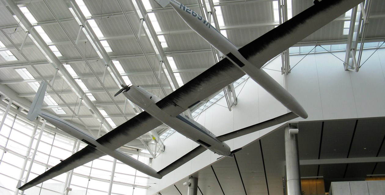 The Museum's Rutan Model 76 Voyager Replica on display at Seattle-Tacoma International Airport