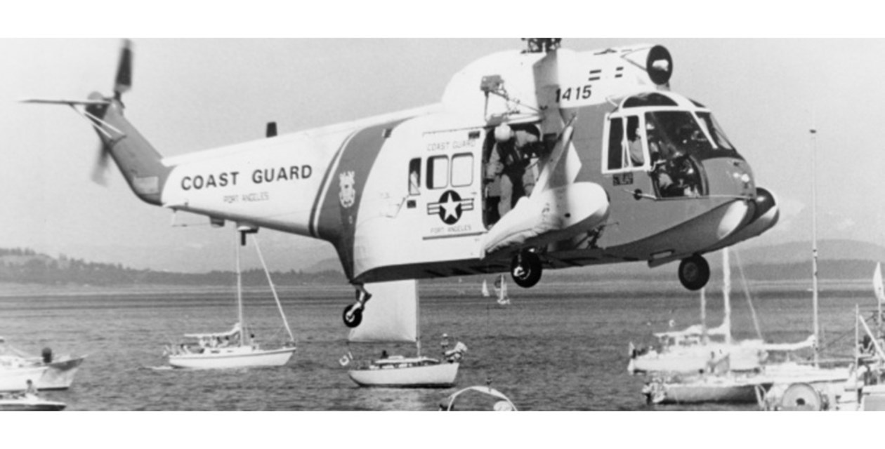 The Museum's Sikorsky HH-52 Seaguard engaged in rescue operation practice with the U.S. Coast Guard