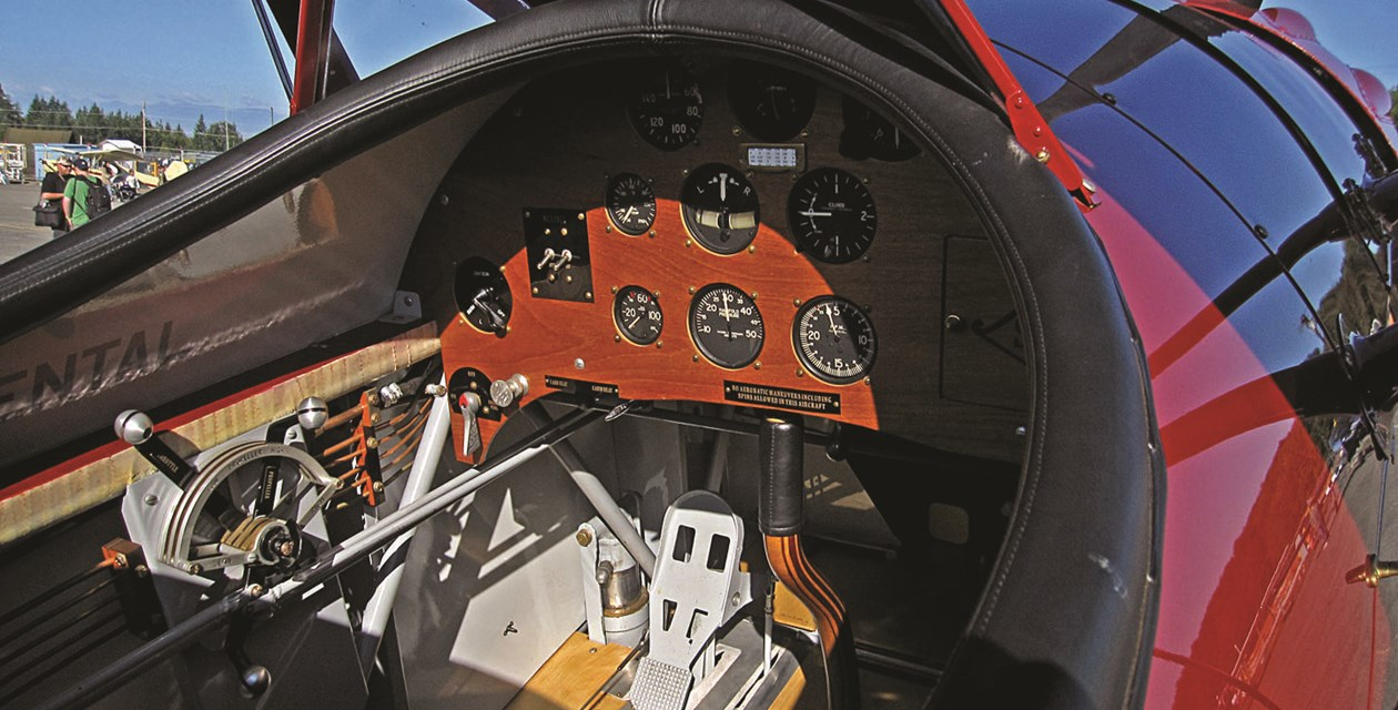The cockpit of the Musem's Stinson Model O. Photo by Barry Latter.