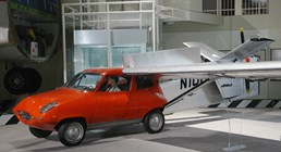 The Museum's Taylor Aerocar III on display in the Great Gallery (Photo by Heath Moffatt)