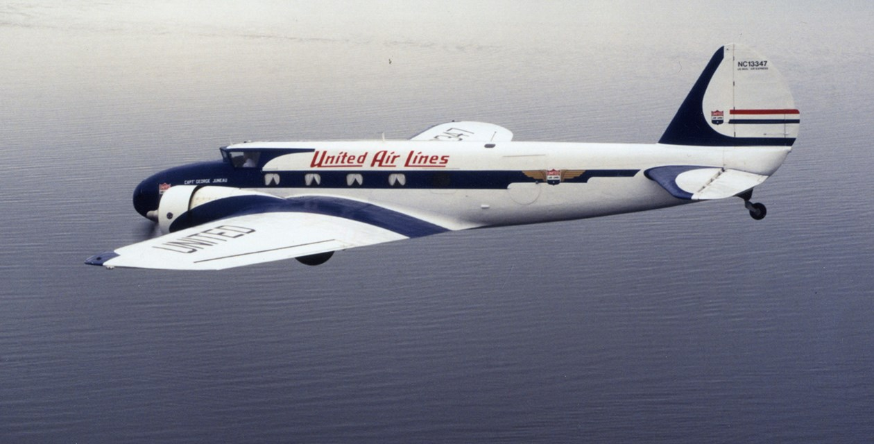 Museum's Boeing 247D in flight over Puget Sound