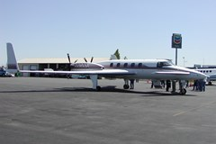 The Museum's Beech Starship 1 Model 2000A upon arrival at the Museum